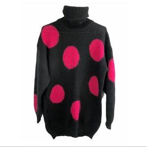 Vintage 80s Polka Dot Long Turtleneck Sweater Sz M